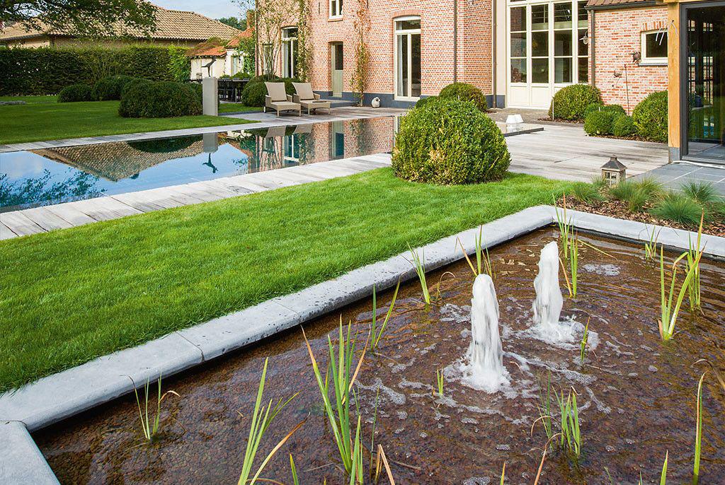 Zwembad van 39 t groene plan spiegel van de tuin for Zwemvijver afmetingen